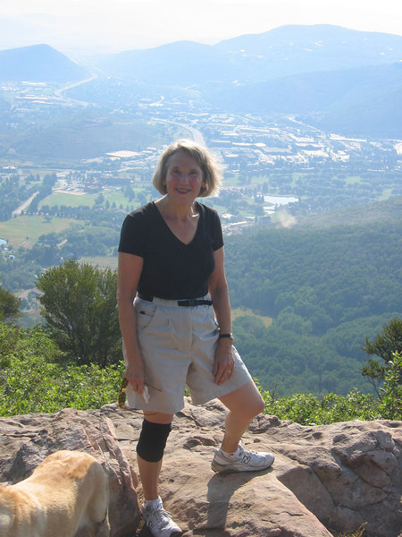 Judy hiking with Kate above Park City.