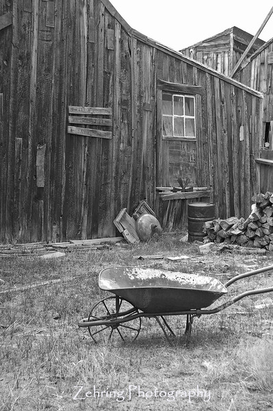 "Old wheel barrow outside a work shed, in the ""ghost town"" of Bodie, California."