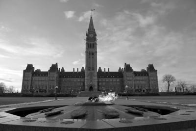 Centennial Flame and Center Block, Parliament Hill