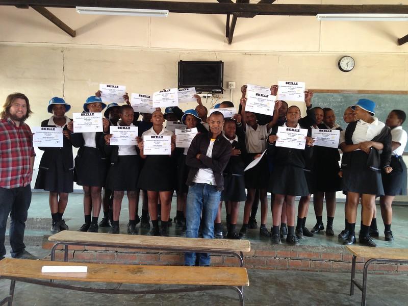 PC Lesotho Volunteer Jon Suttle implements a PC SKILLZ intervention. December 2018.