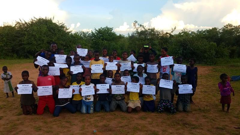 PC Zambia Volunteer Rebecca Snyder gradutes 36 participants from PC SKILLZ. March 2019.