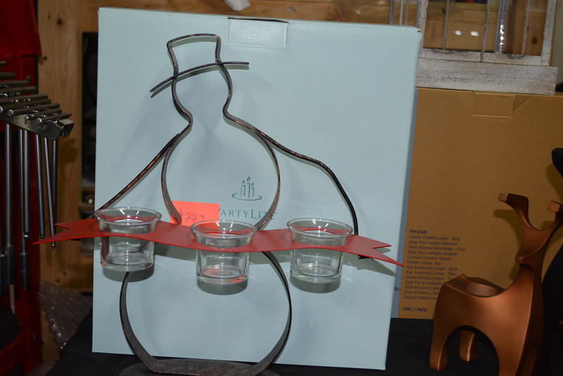 Snowman Stand with 3 Votive Cups $20 RETIRED