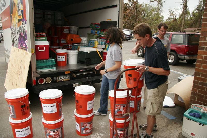 We delivered over 150 flood buckets provided by our church to help the people of Pascagoula clean up their homes.