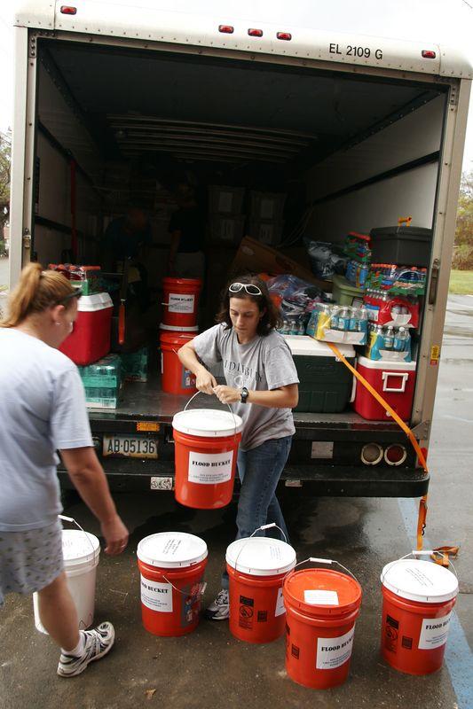 Kristin McMillen unloading the truck.