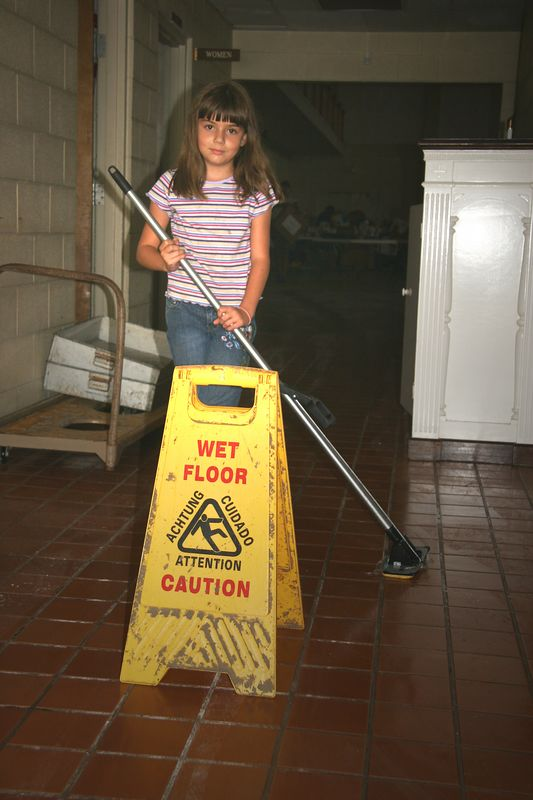 This is Maria, granddaughter of one of the members at Pascagoula UMC.  She was determined to clean those floors!