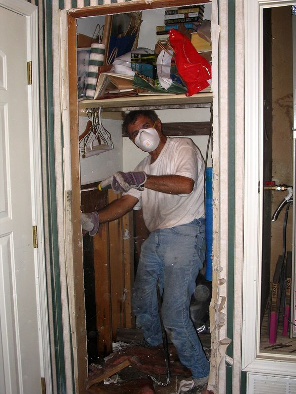 """Marty Cavato """"cleaning"""" the closet."""