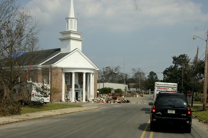 Arriving at the Pascagoula United Methodist Church