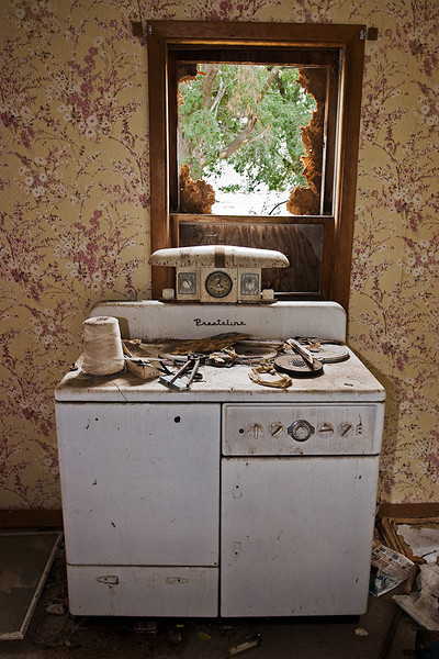 Passings – Stove in abandoned Nebraska farmhouse <br /> ©2009 Peter Aldrich