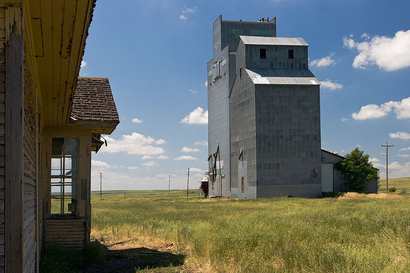 Passings – Montana grain elevator and abandoned Northern Pacific RR depot<br /> ©2011 Peter Aldrich