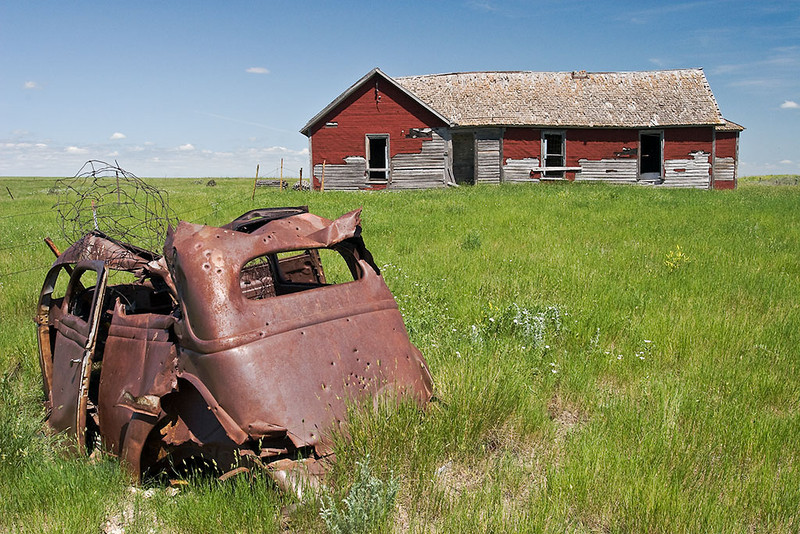 Passings – Abandoned South Dakota farmhouse and car <br /> ©2009 Peter Aldrich