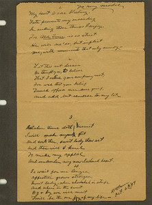 Poem written by Patrick Henry Bruce about his model.  1899