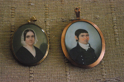 Small miniatures of Patrick Henry Jr. and Elvira Ann Cabell Henry.