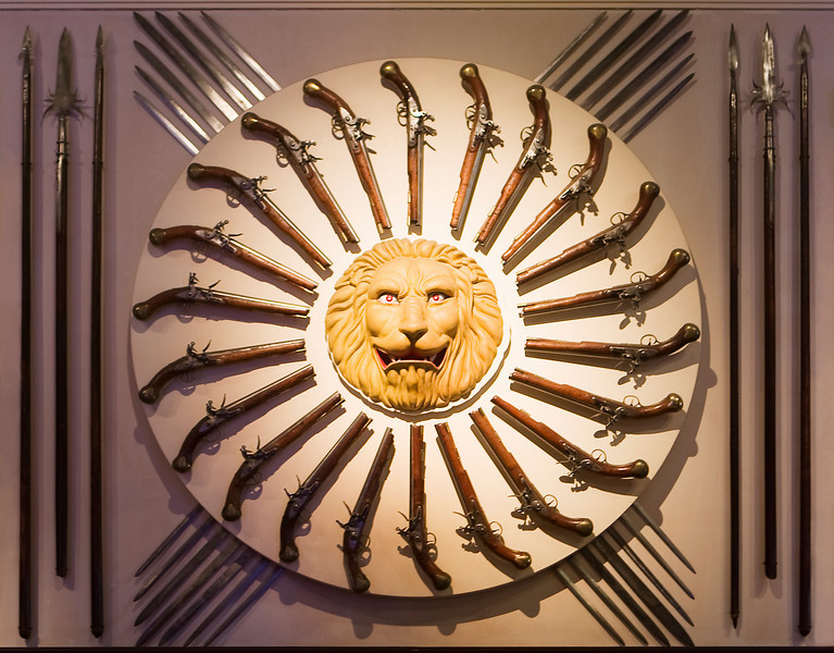 A weapons display of old swords, pistols, and various kinds of spears all surrounding a great lion emblem that is well-lit by a spot of sun.