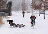 ARNHEM, NETHERLANDS : A young boy fell is bike at snhow on February 3, 2012 in Anhem Zuid, Netherlands . The cold front sweeping over the country has affected regions, Schools have closed in several cities, while transport has been affected with train cancellations and road closures. / Winter in Arnheim. Radfahrer. Velofahrer stürzt auf glatter Strasse. © Paulo Amorim/IMAGOpress.com