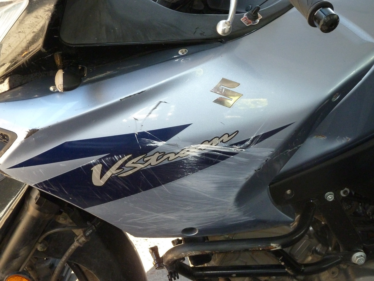 a v-strom with road rash? Shocker.