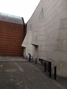 "My 11-yr-old grandson looking up at the ""nose"" on side of Peabody Essex Museum, November 9, 2016."