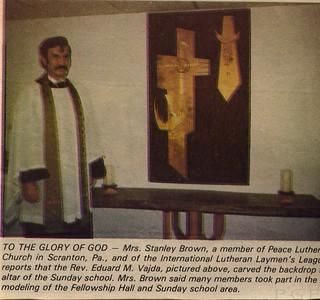 Pastor Vajda and altar