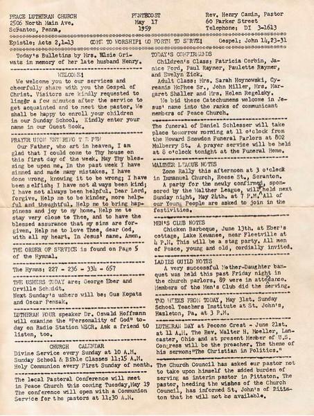 1959 Sunday Bulletin