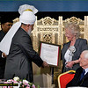 Ref 003a:  Hadhrat Khalifatul Masih V presenting the prize to SOS Children charity Uk President, Dame Mary Richardson, OBE