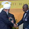 PIC REF: Peace 3-1409<br /> The 4th Annual 'Ahmadiyya Muslim Prize for the Advancement of Peace' was presented by Hadhrat Mirza Masroor Ahmad to Dr Oheneba Boachie-Adjei, in recognition of his outstanding work in the promotion of peace through his life-changing medical work that has provided hope and a future for thousands of people in the developing world