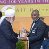 PIC REF: Peace 3 - 1414<br /> His Holiness presenting a specially engraved glass award to Dr Oheneba Boachie-Adjei