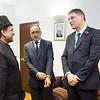 Rafiq Hayat (National UK President of the Ahmadiyya Muslim community) and Ahmad Salam gave this year's peace prize winner, Magnus MacFarlane-Barrow, a warm welcome to Baitul Futuh.