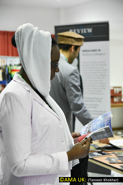 Guests had an opportunity to visit the various exhibition stands like the Review of Religiosn stand shown here.