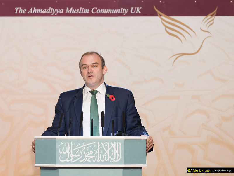"""Rt Hon Ed Davey, MP, Secretary of State for Energy & Climate Change said:<br /> """"In the world today we see 'politics of division' in so many parts but under the leadership of His Holiness, Hazrat Mirza Masroor Ahmad, the Ahmadiyya Muslim Community promotes a 'politics of unity' with the aim of establishing unity across the world."""""""