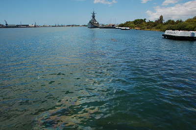 USS Arizona Memorial - you can see some of the oil slick from the oil that still comes up from the sunken ship