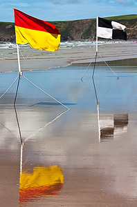 RNLI lifeguard flags at Newgale