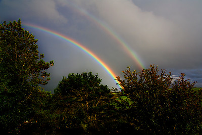 Double rainbow, note the colours occur backwards in the outer bow because of the extra-reflection.