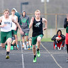 Don Knight | The Herald Bulletin<br /> Pendleton Heights' Zach Taylor, fifth from left, wins the 100 meter dash during the Pendleton Heights Track Invitational on Thursday.