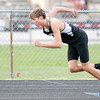 Don Knight | The Herald Bulletin<br /> Lapel's Dalton Busch comes out of his blocks at the start of the 400 meter dash during the Pendleton Heights Track Invitational on Thursday. Busch won with a time of 51.33 seconds.