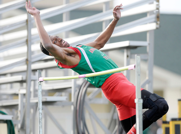 Don Knight | The Herald Bulletin<br /> Anderson's Khalic Williams won the high jump clearing 6 feet 1 inch during the Pendleton Heights Track Invitational on Thursday.