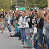 Hundreds of people line State Road 38 to watch the Homecoming Parade.