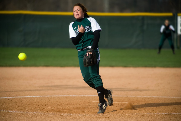 Pendleton Heights' Bailey Benefiel fires in a pitch as she strikes out the side. Pendleton Heights High School defeated Elwood High School in the Madison County softball tournament championship game Saturday, April 13, 2013. Photo by Richard Sitler