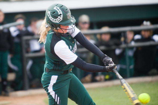Pendleton Heights' Morgan Hubble connects while at bat in the second inning. Pendleton Heights High School defeated Elwood High School in the Madison County softball tournament championship game Saturday, April 13, 2013. Photo by Richard Sitler