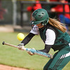 Delilah Wright attempts to bunt for Pendleton Heights. Pendleton Heights High School defeated Elwood High School in the Madison County softball tournament championship game Saturday, April 13, 2013. Photo by Richard Sitler