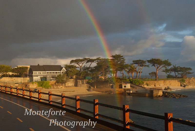 Double rainbow over Lovers point in Pacific Grove California
