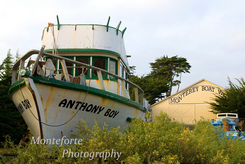 Anthony Boy sitting in yard at Monterey Boat Works, Monterey California. I was told that this boat was built in this yard and now it will spend the rest of its days in this yard.