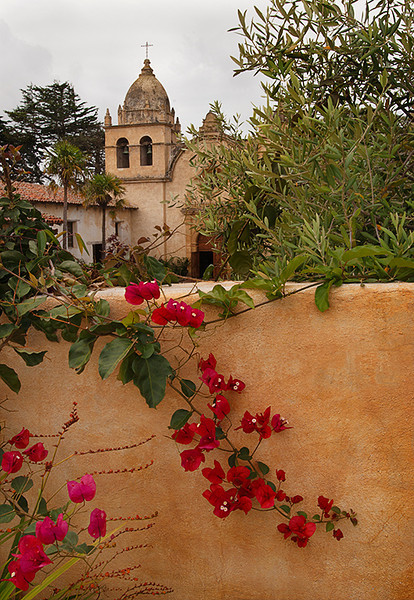 Carmel Mission from outside the wall, Carmel California