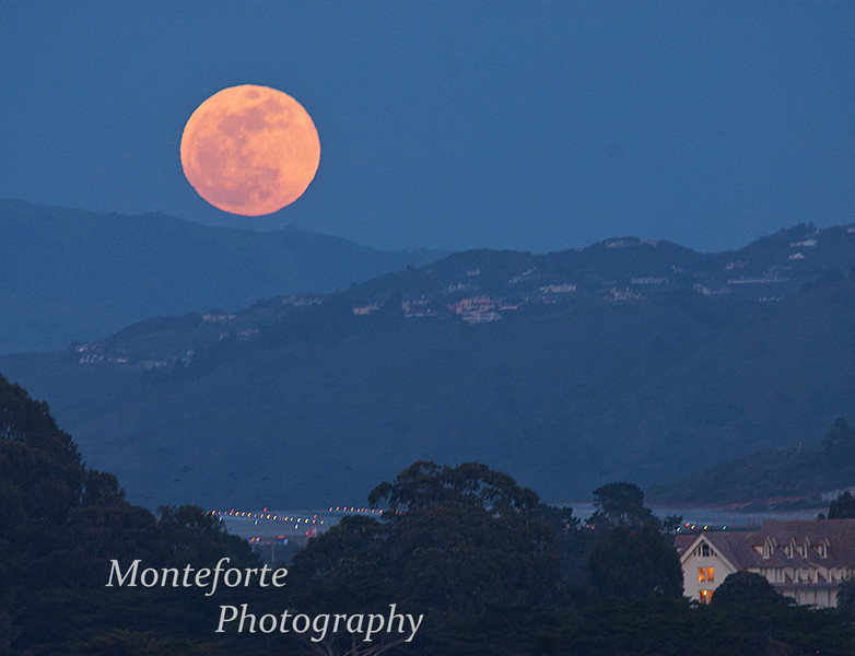 Supermoon rising over the hills of Monterey, May 5 2012