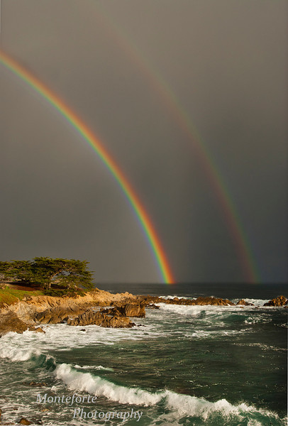 Double Rainbow off of Pacific Grove over Monterey Bay.