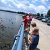 Grammy, Vanessa,Vivian, Zane & Sam feeding the fish and ducks