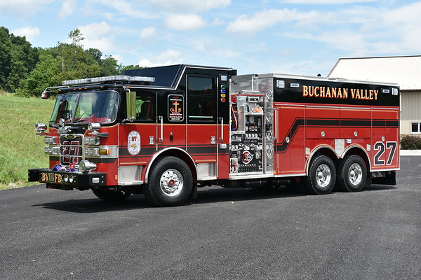 Buchanan Valley, PA in Adams County - Engine/Rescue 27 - a 2017 Pierce Arrow XT equipped with a 2000/1500 and job number 30614.  This Pierce replaced a 1991 Pierce Arrow which was sold to Cheriton, VA in 2016.