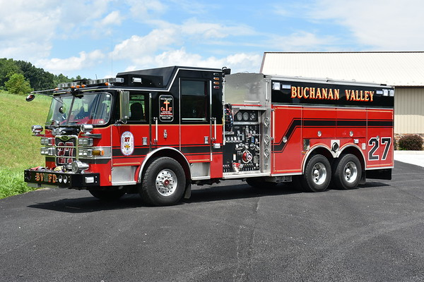 """Engine Tanker 27 from Buchanan Valley, PA in Adams County is a 2008 Pierce Arrow XT 2000/2000 with Pierce job number 20180.  It has a 6 man cab, 10"""" rear dump, and 8"""" side dumps."""