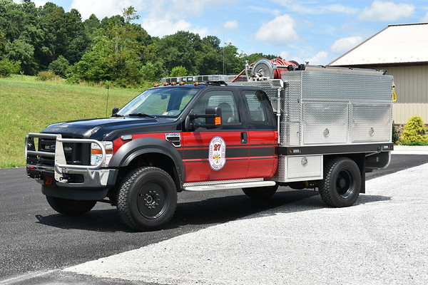 Brush 27 at Buchanan Valley, PA is this 2009 Ford F450 4x4/Firematic Brat/CET equipped with a 120/250/10A - CAF's.