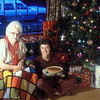 Cecil and Marian with Christmas tree and pie