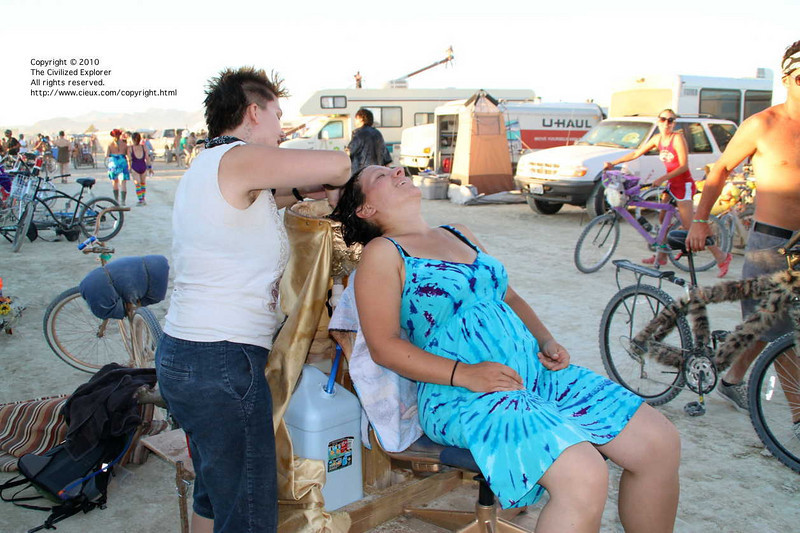 Getting your hair washed on the playa is a great experience.