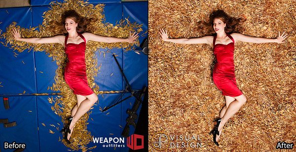 Before and after of the Tessa Bullet Bed shot.